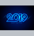 2019 happy new year neon text background vector image