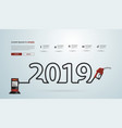2019 new year with gasoline pump nozzle creative vector image