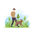 a man walking with his dog vector image vector image