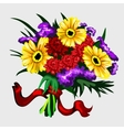 bouquet yellow red and purple flowers vector image vector image