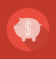 Business Flat Icon Piggy Bank vector image