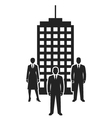 business team standing near building black icon vector image