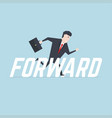 businessman running with forward message vector image vector image