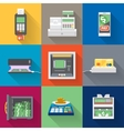Cash machines icons set in flat style vector image vector image