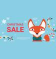 christmas sale promo cartoon fox with scarf vector image