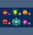 collection cute colorful germs set funny vector image
