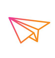 colorful gradient pink to orange paper plane vector image vector image