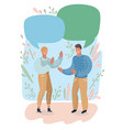 couple having conversation on empty speech bubble vector image vector image