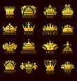 crown king vintage premium golden yellow badge vector image vector image