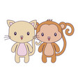 cute cat with monkey animals isolated icon vector image vector image