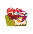 cute red and pink hearts characters sitting in vector image vector image