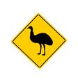 Emu warning sign vector image vector image