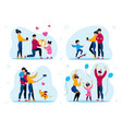 family holiday party and recreation set vector image vector image