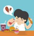 Fat man eating vector image vector image