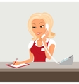 Female blond receptioonist is taking a call vector image vector image
