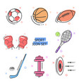 flat line art icon set sport icons kit vector image vector image