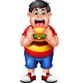 funny fat boy eating burger cartoon vector image vector image