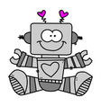 funny robot icon in flat style isolated on grey vector image vector image