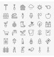 Garden Flower Line Art Design Icons Big Set vector image vector image