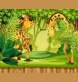 giraffe in the jungle vector image vector image