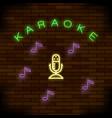 glowing light karaoke on brick background musical vector image