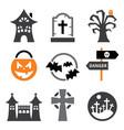 halloween icons set - scary pumpkin vector image