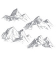 hand drawing mountain peaks isolated retro etching vector image vector image