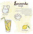 hand drawn of lemonade recipe with list of vector image