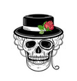 hand drawn sketch skull in hat rose monocle vector image
