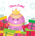 happy easter card with eggs queen and gifts vector image vector image
