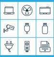 hardware icons set with photocopy plug vector image vector image