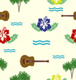 Hibiscus guitars and palm trees pattern vector image vector image