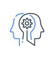 human head profile and cogwheel line icon vector image vector image
