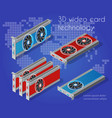isometric video graphic card vector image vector image
