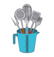 jar with kitchen utensils colorful blurred contour vector image vector image