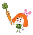 little girl with carrot cartoon vector image vector image