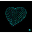 Love heart symbol Design element 3d grid vector image vector image