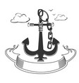 marine emblem with ribbon vector image vector image