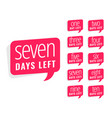 number days left sticker design for sale vector image vector image