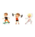 pretty little boy doing sport activity and playing vector image vector image