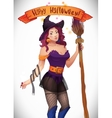 Pretty Witch Halloween Sexy girl with broom and vector image vector image