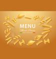 realistic italian pasta dry mix for menu vector image