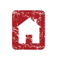 Red grunge building logo vector image vector image