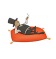 rich man relaxation vector image vector image