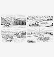 rural meadow set a village landscape with sheep vector image vector image