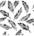 seamless outline feathers linear feathers pattern vector image