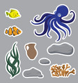 set of objects with octopus jar and fish vector image
