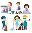 set of people cleaning vector image vector image
