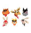 superhero animals heads brave character collection vector image