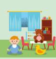 toddler boy in classroom kinder bear duck blocks vector image